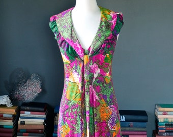 Vintage groovy neon PSYCHEDELIC print summer festival halter MAXI DRESS  / 60s 1960s 70s 1970s