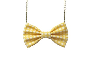Light Yellow Dot - Bow Tie Necklace, Summer Accessory, Party Favor, Wedding, Bridesmaids Polka dots