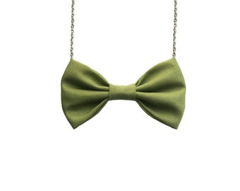 Olive Green Bow Tie Necklace, Casual Women Bowtie, Pastel Olive Green
