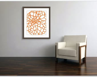 Modern Dahlia Wall Art - Dahlia Flower No. 1 Art Print Tangerine Orange Nectarine - 16x20 Wall Art  - Home Decor - Spring Summer - Under 20