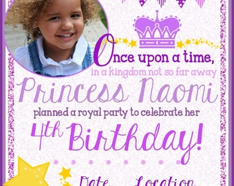 Princess Birthday Party Invitation - Princess Theme Party - Purple - Lilac - Glitter - Princess Birthday Party - DIY Princess