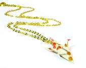 Half Off Miniature Origami Crane Necklace - Cream Floral Paper Crane Necklace