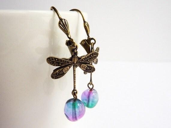 Dragonfly Earrings, PurpleTeal Blue, Glass Beads, Leverback Earrings, UK Etsy