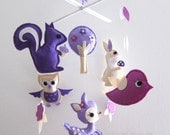 "Baby Crib Mobile - Baby Mobile - Purple Decorative Adorable Mobile - ""Purple Jungle Animals"" (Pick your color)"