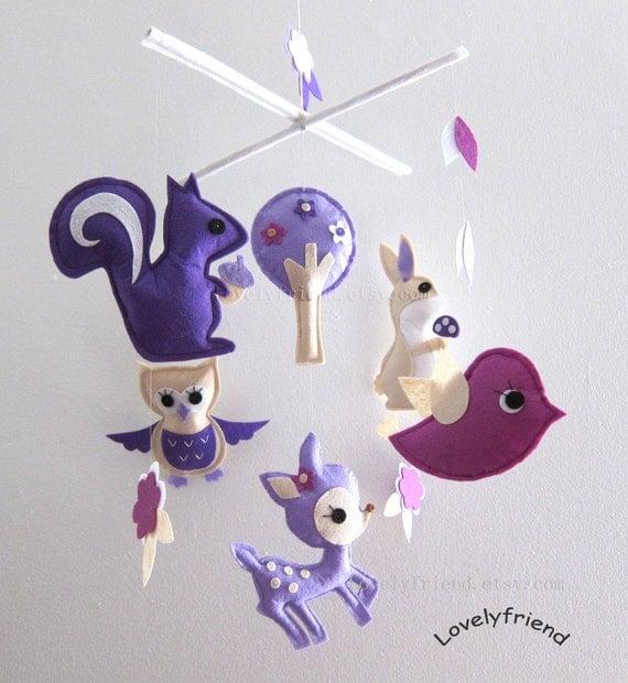"Baby Crib Mobile - Baby Mobile - Purple Decorative Adorable Mobile - ""Purple Jungle Animals"" (Pick your color)"