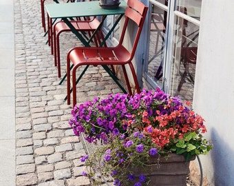 Copenhagen Photography - Cafe Print - Denmark Photo - Kitchen Wall Art - Flower Pots Purple Red Green Travel Photography Rustic Urban