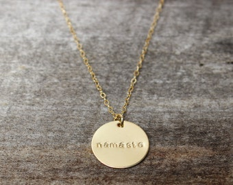 Namaste - Hand stamped gold Namaste charm on 14kt gold filled chain, yoga jewelry, gold charm necklace, gold namaste necklace, gold fill