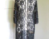 1960s Mid Century Vintage Black Lace Sheer Duster // Goth // Formal // Party Wear