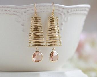 Peach Champagne Teardrop Crystal Glass Gold Dangle Earrings, Matte Gold Ladder Earrings, Gift for Her, Birthday Gift