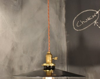 """Vintage Industrial Pendant Light with Flat Steel Shade - Large Size 14"""" Diam."""