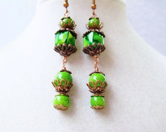 Green Glass Cube & Copper Dangly Earrings, Boho Chic