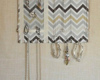 ULTIMATE Jewelry Organizer-Medium- Cream/Gray/Brown Chevron,11x14 inches, 30 Large Silver Hooks, One BLESSED mommie, Obm