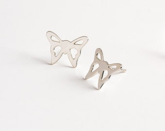 Silver Bridesmaid Earrings - Bridesmaid Stud Earrings - Butterfly Stud Earrings
