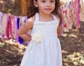 Girls ivory Dress, flower girl vintage dress, girl modern dress, toddler flower dress, natural girl dress for toddlers to teen