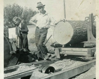 "Vintage Photograph ""The Log Man"" Logging Job Occupational Worker Tree Mill Americana Guy Work Antique Found Snapshot Old Photography - 44"