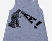Womens Godzilla Science racerback tank top - american apparel athletic gray - available in XS, S, M, L WorldWide Shipping