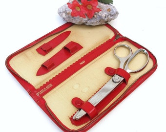 Vintage Wiss Pinking Shears | Red Zipper Case | Sewing Scissors | Zig Zag Scissors | Scrapbooking | Seamstress Tool