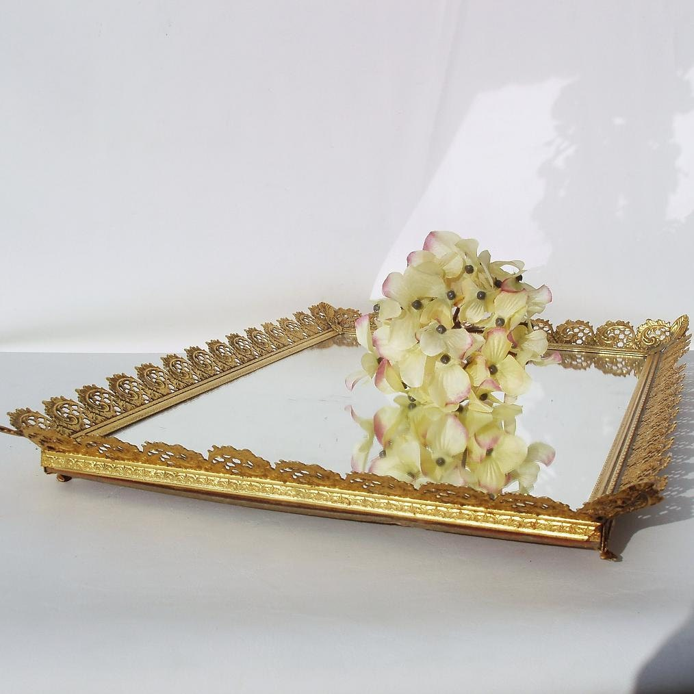 Vintage Mirror Perfume Tray Gold Framed Mirrored Vanity