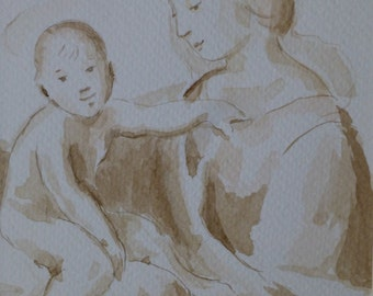 Ink Drawing Study of The Niccolini-Cowper Madonna by Raphael.