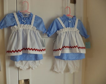 Raggedy Ann, Dress & Apron, Optional Bloomers, Infant and Toddler Sizes to 4T, Made to Order