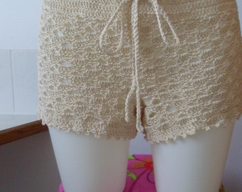 Crocheted Beach Shorts Cover Up in Natural Color Cotton