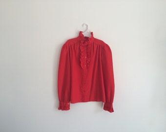 1980s EDWARDIAN / VICTORIAN ruffle secretary blouse in red