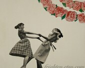 Whimsical Art, Paper Collage Print, Dancing Girls, Sisters Art, Best Friends, Collage Art, frighten