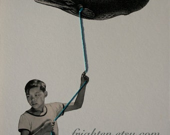 One of a Kind Surreal Art of Boy with Whale Kite, Retro Mixed Media Paper Collage with Embroidery Thread