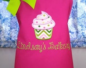 Kids Apron Personalized with Fabric Applique Cupcake
