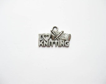 6 Knitting Charms in Silver Tone - C1912