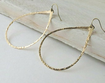 Brass teardrop earrings,  brass dangles, handmade earrings, brass hoops,  brass jewelry