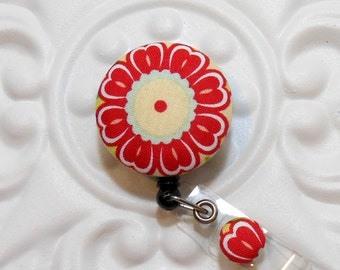 Retractable Badge Holder Id Reel  Fabric Covered Button Flower Red Light Blue Off White