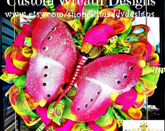 Summer Pink and Yellow Butterfly Wreath
