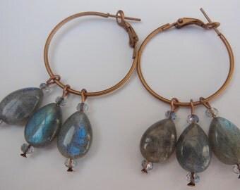 Labradorite drops on copper earrings E473