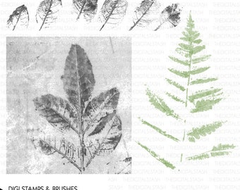 Hand Painted Leaves and Fern - 3 Digital Stamps and Brushes - INSTANT DOWNLOAD - for Collage, Scrapbooking, Cards, Journaling, Invites, More