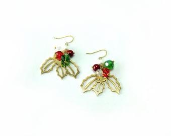 The Holly earrings, earrings for Christmas