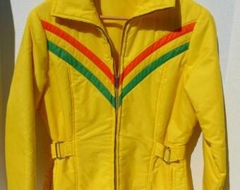 Retro Ski Bunny Jacket Parka Coat Yellow with Green and Orange Chevrons
