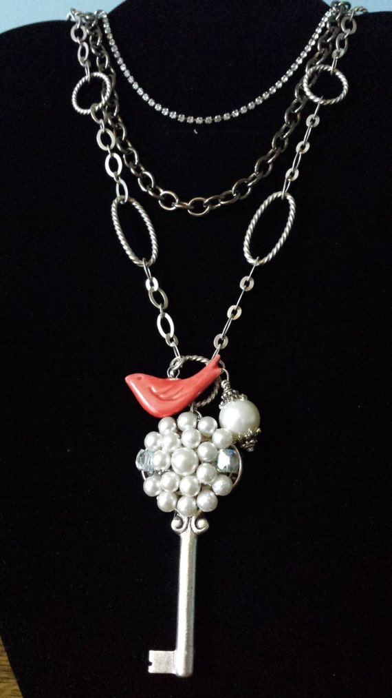Nunn Design Antique Silver Key Triple Length Necklace with Bird Charm and Pearl Bead Embellished With a Vintage Pearl Earring