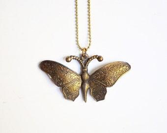 Vintage Brass Butterfly Pendant