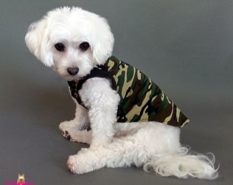 Green Camouflage Dog Muscle Shirt or Dog Pajamas - Green Camo PJs and Tank Tops