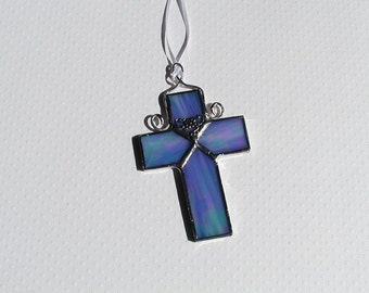 Cross, Stained Glass, Suncatcher, Blue, Decorative