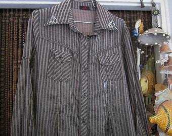 Delicately Sequined Striped Jacket/Tunic, Featuring Touch&Feel Text Print on the Back , Vintage - Medium