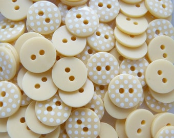 Pale Yellow 10 x 12mm High Quality Polka Dot Buttons