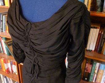 BOMBSHELL--Killer Inky Black Rayon Gabardine Rouched 1950s Marilyn Monroe Wiggle Dress--S