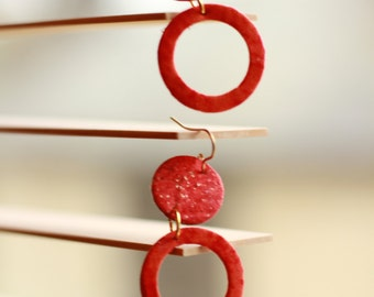Lightweight Red Dangling Earrings