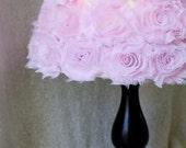 "Rose Lamp Shade, Rosette Lamp Shade, Nursery Decor, Nursery Lighting Decor, Baby Lamp Shade, Shabby Chic Lamp Shade, 9"" Round Lamp Shade"
