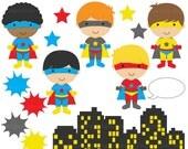 superhero clipart digital clip art super hero boys - Super Boys Clipart