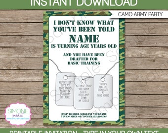 Army Invitation Template - Camo Birthday Party - INSTANT DOWNLOAD with EDITABLE text - you personalize at home