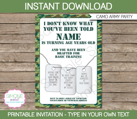 Army invitation template camo birthday party instant download il570xn stopboris Images