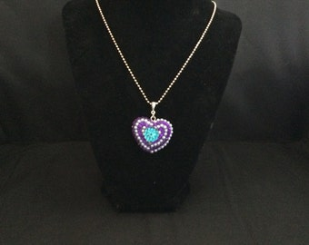 Purple, Teal and White Heart Shaped Necklace